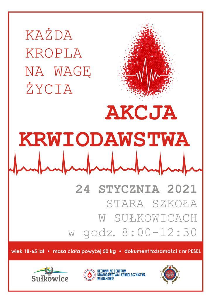 akcja krwiodawstwa wgminie sułkowice plakat